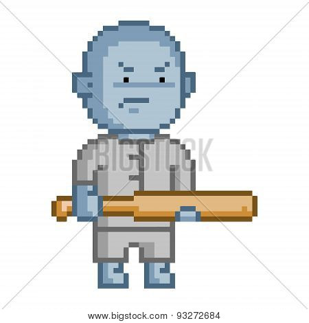 poster of Pixel blue goblin for 8 bit video game and design