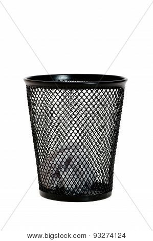 Paper Ball In Black Wastepaper Basket