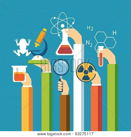 science concept physics chemistry biology flat design for web and print poster