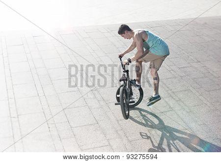 bmx bike rider on the highlights