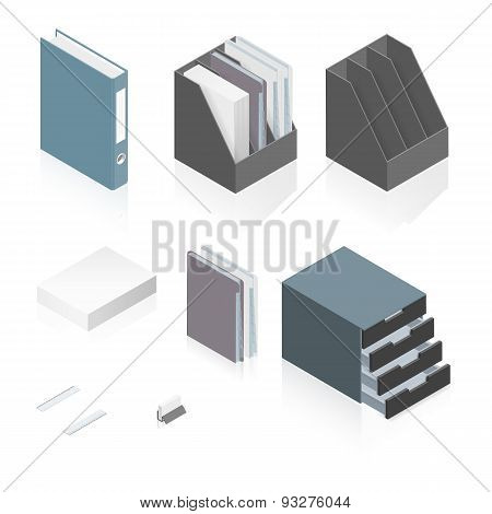 Files, Folders, Paper Stack, Storage Boxes And A Detailed Isometric Set