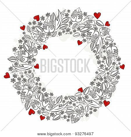 secret garden wreath with red hearts on white