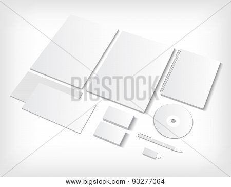 Set of CI blank templates with business cards and notebook.