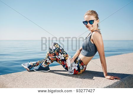 Young Fitness Blonde Woman Hold Bottle Water After Fit At Beach And Looking At Camera. Woman Sport R