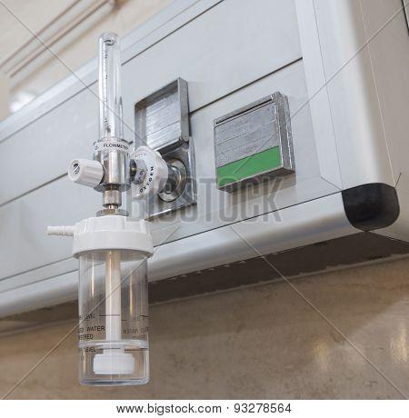 Closeup Of Oxygen Flowmeter In Hospital