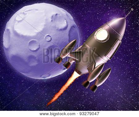 Cartoon Rocket Flying Through Space