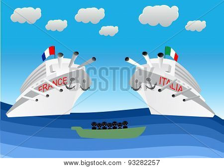 illustration of illegal migrants on lifeboat floating in front of Italian and Franch warships. Concept for lifeguard, navy patrol poster