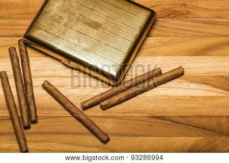 Brass Cigarette Case And Cuban Cigarillos