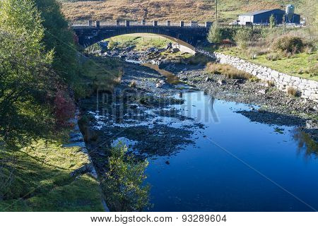Afon Claerwen With Bridge. Tranquil River In Welsh Countryside.