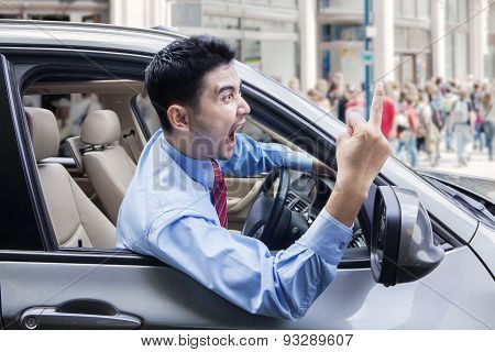 Annoyed Person Driving A Car