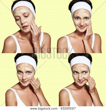 Young Woman Have A Facial Routine With A Homemade Mask