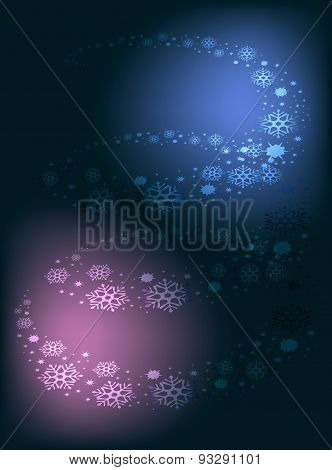Blizzard whirls in a double helix with snowflakes and festive lights. EPS10 vector illustration