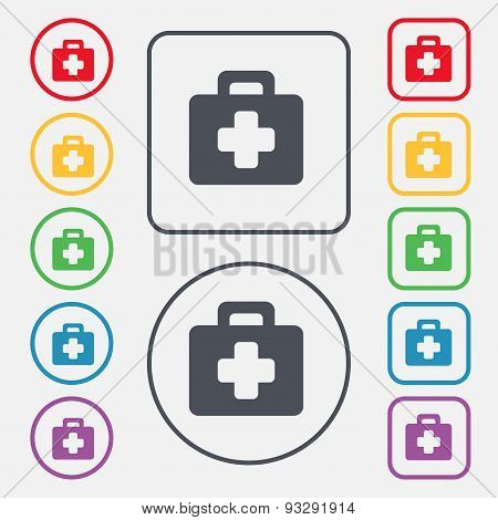 First Aid Kit Icon Sign. Symbol On The Round And Square Buttons With Frame. Vector