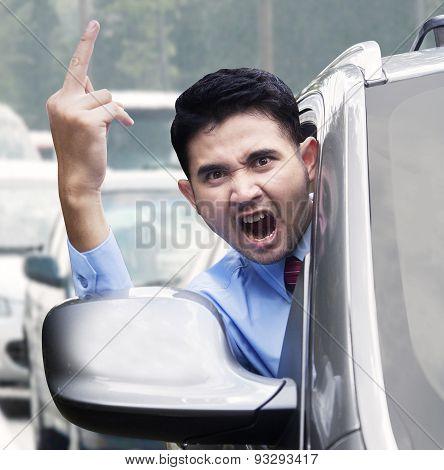 Furious Man In The Car