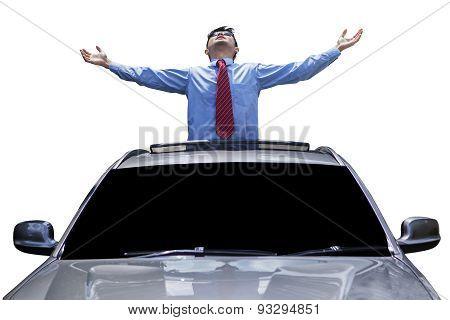 Man Enjoy Freedom On The Sunroof Of Car
