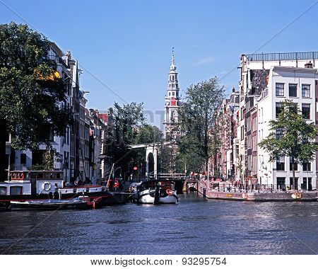 Canalside buildings, Amsterdam.