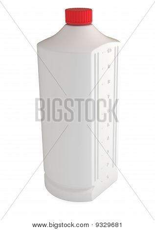 White Plastic Bottle with Measures on the Side, Isolated on White