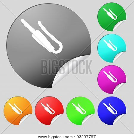 Plug, Mini Jack Icon Sign. Set Of Eight Multi Colored Round Buttons, Stickers. Vector
