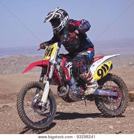A Close Up Motocross Racer Practices At Sara Park