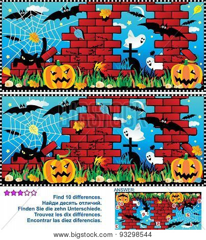 Halloween find the 10 differences visual puzzle