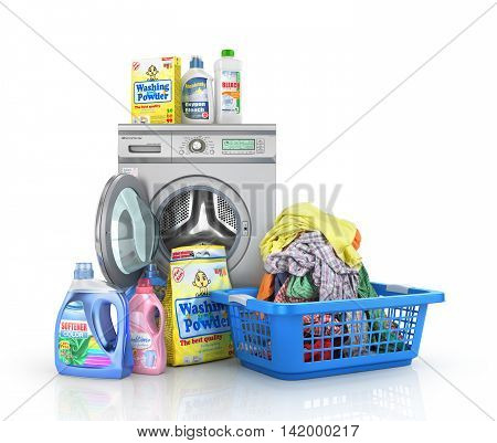 Concept of big washing. Set of bottles of detergents and washing powders with open washing machine and basket full of clothes. 3d illustration