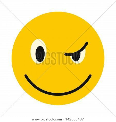 Devious smiley icon in flat style isolated on white background. Facial expressions symbol