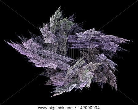 The abstract fractal recursive color structure created by the program on a black background. The image for creative graphic unique design.