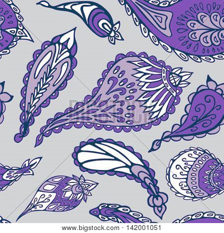 stock vector seamless purple paisley pattern for printing on paper fabric. Indian arabic orient ornament