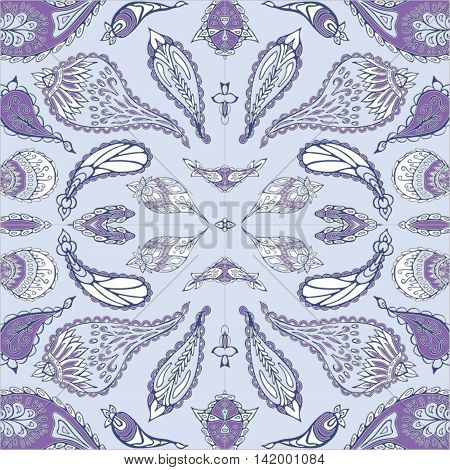 stock vector seamlesspurple paisley pattern for printing on paper fabric. Indian arabic orient ornament