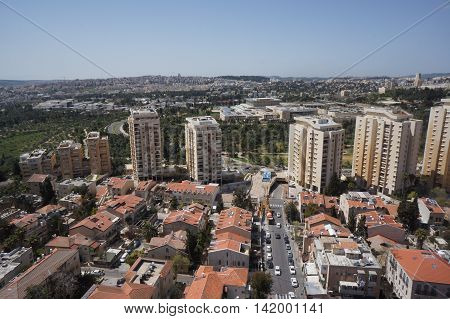 Amazing aerial photography of Jerusalem city abd the knesset Israel