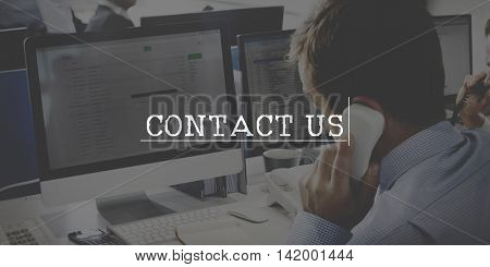 Contact Us Customer Support Care Hotline Service Concept