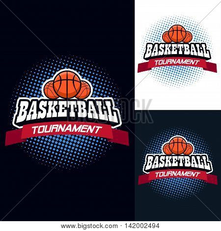 Basketball colour tournament logo label in vintage style with half tone background - stock vector