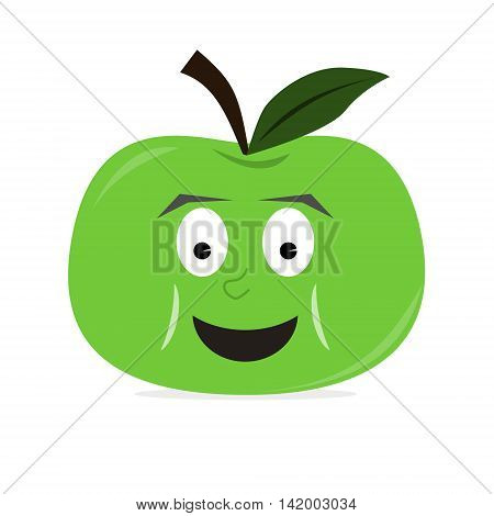 Apple fruit character with big smile on face. Green color. Isolated vector illustration.