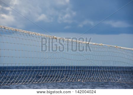 Volleyball nets erected and ready for beach volleyball tournament