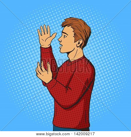 Man gesturing and argues. Cartoon pop art vector illustration. Human comic book vintage retro style.