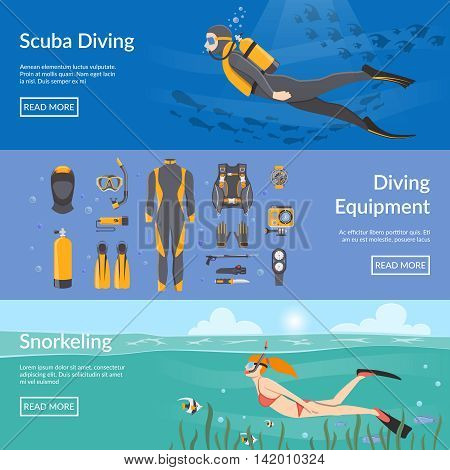 Diving and snorkeling advertising horizontal banners with diving equipment presentation and people figures with aqualung snorkel and flippers flat vector illustration