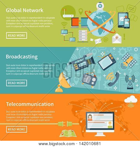 Telecommunication horizontal banners with information about global network elements broadcasting equipment and cloud worldwide technology flat vector illustration
