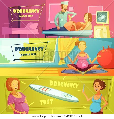 Pregnancy strop test ultrasound scan and exercises 3 horizontal banners set with text sample abstract isolated vector illustration