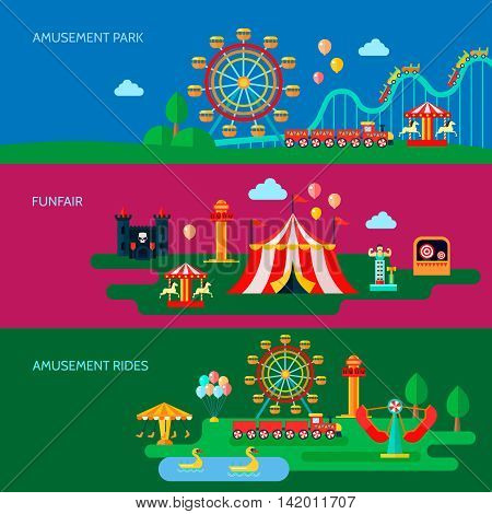 Amusement park horizontal banners set with funfair symbols flat isolated vector illustration