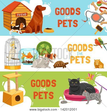 Home pets three horizontal banners with parrot in cage turtle rabbit dog and cat icons and description goods for pets vector illustration
