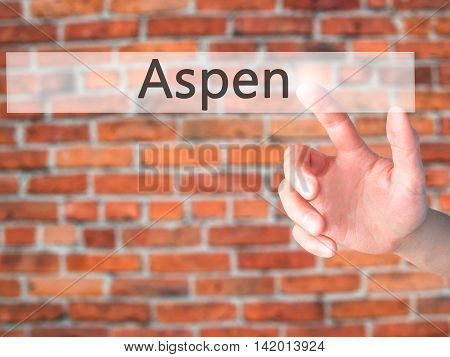 Aspen - Hand Pressing A Button On Blurred Background Concept On Visual Screen.
