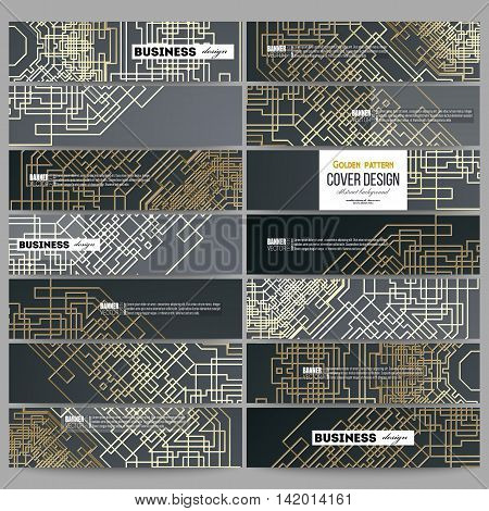 Set of modern vector banners. Golden technology pattern on dark background with connecting lines and dots, connection structure. Digital scientific vector