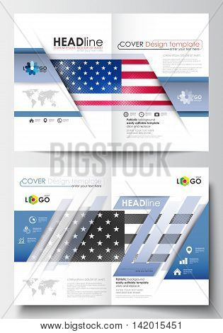Business templates for brochure, magazine, flyer, booklet or annual report. Cover design template, easy editable blank, abstract flat layout in A4 size. Patriot Day background with american flag, vector illustration