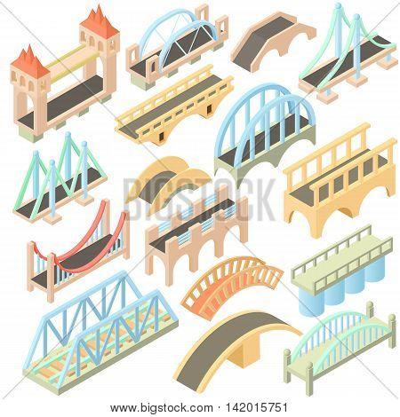 Isometric bridges stadium icons set. Universal bridges icons to use for web and mobile UI, set of basic bridges elements isolated vector illustration