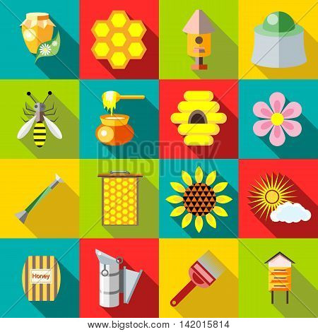 Flat apiary icons set. Universal apiary icons to use for web and mobile UI, set of basic apiary elements vector illustration