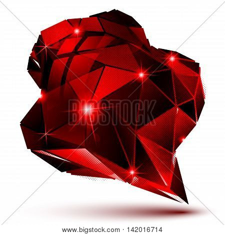 Contemporary Bright 3D Object Isolated On White Background, Dot Textured Dimensional Distorted Templ