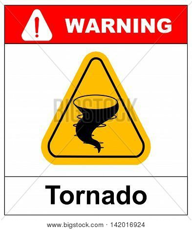 Warning tornado hazard sign in yellow triangle. Vector sticker, banner for outdoors. Extreme weather conditions.