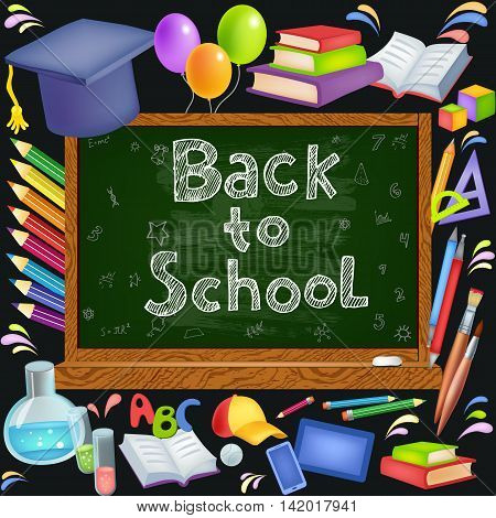 Back to School background with blackboard. Vector illustration includes many colored icons School theme
