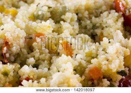Cous Cous With Tomatoes, Beans And Corn
