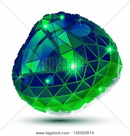 Plastic Grain Dimensional Object Created From Geometric Figures, Shiny Dotted Futuristic Isolated El